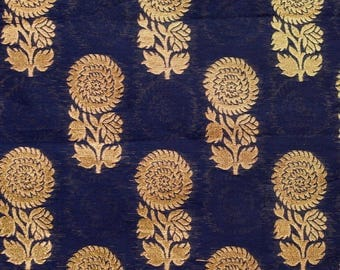 Half Yard of Black and Golden Zari Floral Brocade Silk Fabric by the yard