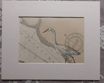 Egret Drawing, Alligator River, heron art, wildlife refuge, bird art, gift for birder, original drawing