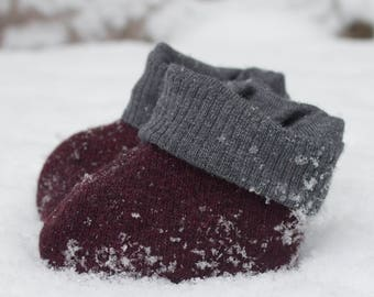 Baby Up-cycled Wool Booties- Gray and Red- Size 3-6 months- Baby Shower Gift