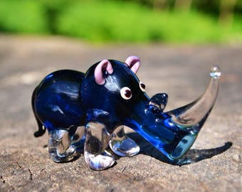 Blue Glass rhino figurines blue animal beads collection collector figurine lover gift animal paperweight rhino sculpture art glass statue