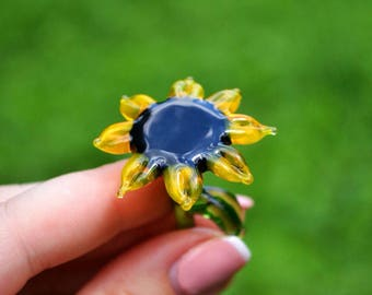 Small Glass sunflower figurine blown sunflowers sculpture art glass flower murano toys tiny small flower miniatures figure toys