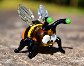 Murano Glass bee figurines collectible bee miniature yellow glass bee