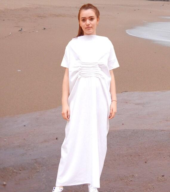 Maxi Cocoon Dress, Linen Caftan, Abaya, Summer White Dress, Oversized Halter Dress, Long Plus Size Dress, Elegant Loose Comfy Woman Dress
