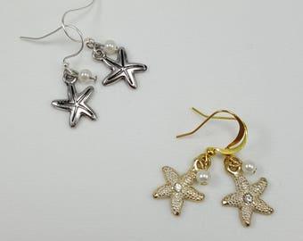 Starfish Earrings, Silver Starfish, Gold Starfish, Starfish Jewelry, Beach Jewelry, Summer Jewelry, Nautical Jewelry