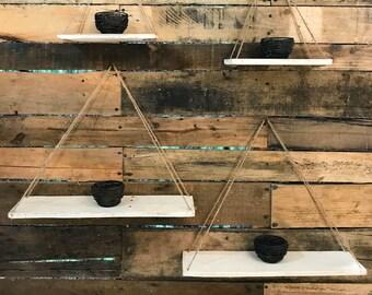 Set of Four Industrial Shelves  / Swing Shelves / Industrial Shelving / Hanging Shelves / Industrial Shelf / Rustic Wood Shelves /