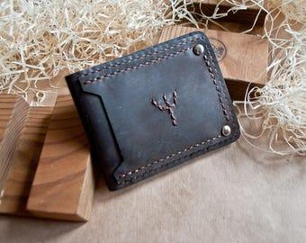 Customizable Handmade Leather Wallet, Genuine Leather, Men wallet, Woman leather wallet,  genuine leather Algiz