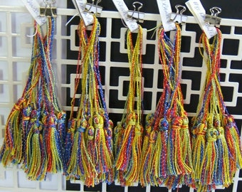 tassels, 89 in lot, Individually handmade, Rainbow (yellow, blue, red, green) with Gold metallic threads