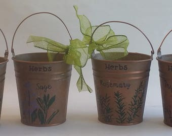"Small Metal Planters Set ""HERBES de PROVENCE"" from HERBORISTE collection"