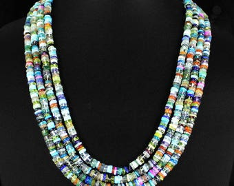 Multi color natural gem stone necklace 4 row line - Adjustable size - 540 Ct - gift for woman - boho hippie