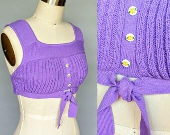 barbie / 1970s purple knit hippie bralette crop top / 2 4 6 xs small