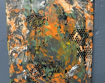 Original artwork, abstract painting, orange and grey paintng, wall art