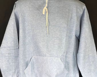 Vintage Russell Athletic Rayon Tri-blend Heather Blue Hoodie Deadstock Made In The USA