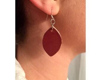 Earrings Leaf, Leaves, Leather, Sterling Silver Hooks