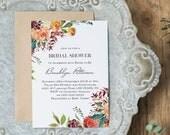 Bridal Shower Invitation, Printable Bridal Shower Invitation, Floral Invitation, Instant Download, EDIT YOURSELF, WLP865