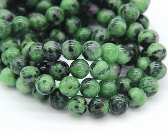 Natural Ruby Zoisite Beads 6mm 8mm 10mm Genuine Ruby Zoisite Mala Beads Natural Red Greeen Gemstone Beads Green Semi precious Stone Beads