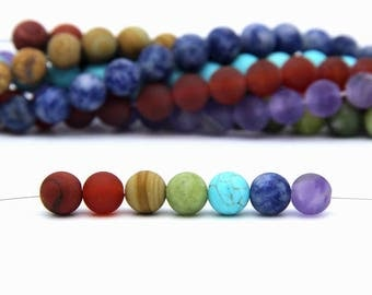 7 Chakra Beads Matte 8mm Set Chakra Gemstone Beads 49PCS Chakra Mala Beads Chakra Jewelry Supplies Healing Yoga Meditation Rainbow Gemstones