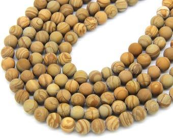 Matte Wood Jasper Beads 6mm 8mm 10mm Mala Beads Wood Vein Beads Yellow Stone Beads Brown Gemstone Beads Matte Gemstone Mala Beads Supplies