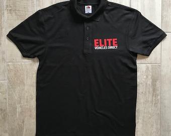 work polo shirt, company logo polo shirt, business logo polo shirt, black polo shirt, personalised polo shirt, polo shirt, work clothing