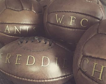 Vintage style personalised mini leather Football / Soccer ball