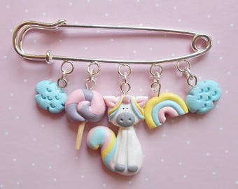 Cute unicorn charm brooch, Polymer clay pin, Handmade gift jewlery, Fantasy kawaii animal badge