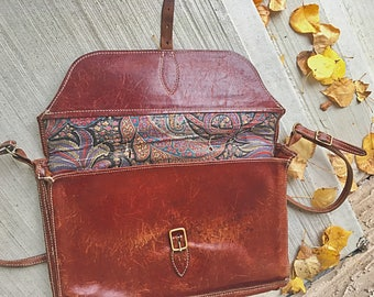 Vintage Leather Retro Groovy Briefcase /  Leather Satchel Briefcase / Old School Satchel / Retro Vintage luggage Organiser Case
