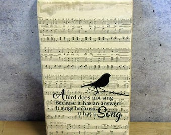 Rustic Wood Plaque Vintage Music and Song Bird Quote