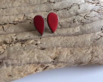 Stud Earrings, studs, drop, Red