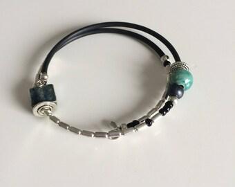 Ceramic, metal, glass, ceramic beads bracelet