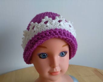 Hand crochet baby hat with crown lace