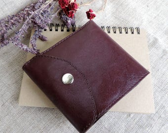 Wallet womens leather minimalist wallet Foldable purse small wallet Card holder purse slim wallet card wallet leather accessory handmade