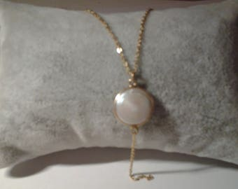 Stick in plated gold with mother of Pearl stone