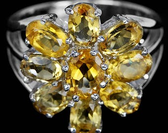 Natural AAA Oval Yellow Citrine  Sterling 925 Silver Flower Ring 14K White Gold Coating