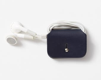 Leather Headphone Keeper   Cable Tidy   Headphone organiser   Headphone wrap - Navy