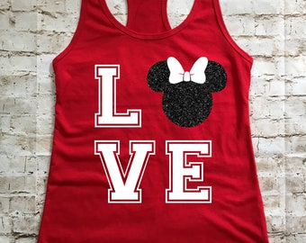 LOVE Minnie Mouse Personalized Women's Tank Top