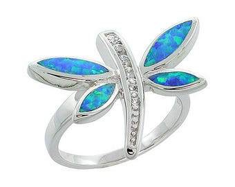 Sterling Silver Blue Opal Dragonfly Statement Ring CZ Accent