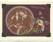 All Joy Be Thine: Vintage LGBTQ+ Card - gay valentine, two gay husbands, gay wedding card, congratulations, anniversary card, new dads card