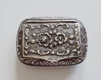 835 silver pill box - Art Deco - rose decor - Albert Balla