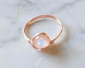 Rose Gold Moonstone Ring • Moonstone ring • Rose gold ring • Gemstone ring • Boho ring • Rainbow Moonstone