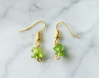 Peridot Earrings - Peridot Droplet Earrings - August Birthstone - Green Peridot