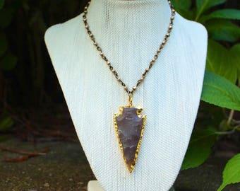 Arrowhead choker, arrowhead rosary necklace, hand wrapped rosary necklace, arrowhead pendant necklace, boho necklace, boho layer necklace