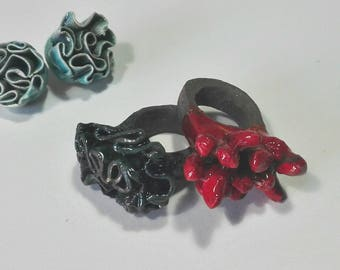 Coral collection ceramic rings