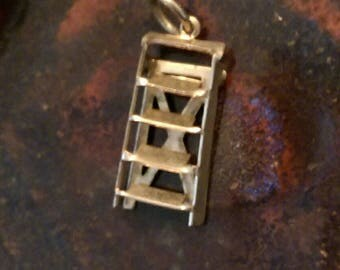 Mechanical ladder step stool vintage silver tone  charm necklace pendant or keychain charm