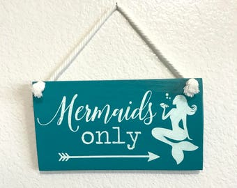 Mermaids only Turquoise hanging wood sign | reclaimed pallet wood home decor