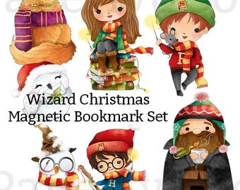 CLEARANCE: Wizard Christmas Magnetic Bookmark Set