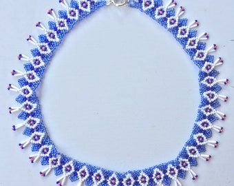 Lavender white orangde beaded necklace