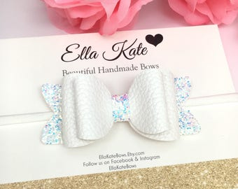White hair clip, faux leather bow, glitter bows, baby bow headband, toddler bows, girls hair accessories