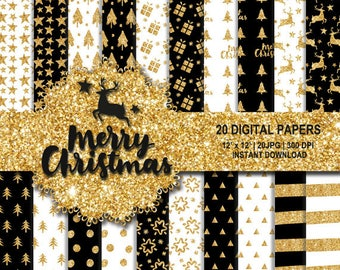 Christmas glitter digital paper, Christmas gold digital paper, glitter background, x-mas white and gold digital, gold background, Seamless