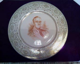 Vintage Franklin D. Roosevelt -  32nd President of the U.S. Commemorative Collector Plate