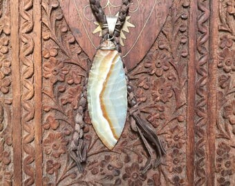 Agget arrowhead stone on braided leather necklace