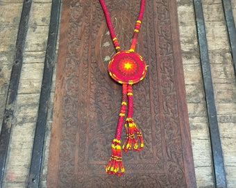Vintage Native American tribal hand beaded necklace